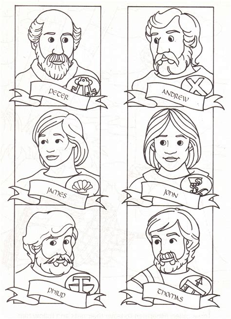 Coloring Page 12 Disciples by 12 Disciples Coloring Page The Twelve Disciples