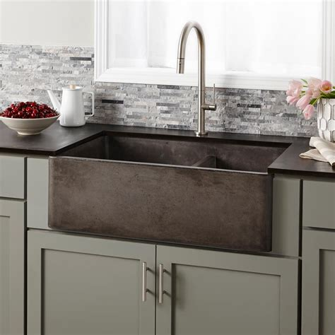 sink bowls for kitchen farmhouse double bowl concrete kitchen sink native trails