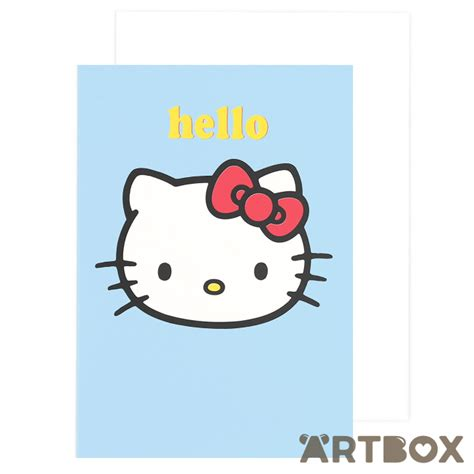 hello kitty printable greeting cards buy sanrio hello kitty face hello blue greeting card at artbox