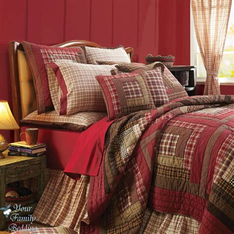 quilt bedding sets red rustic log cabin plaid twin queen cal king size lodge