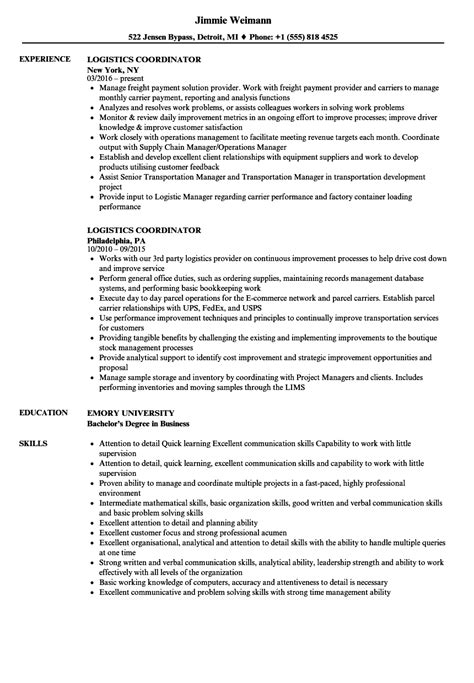 pretty logistics coordinator resume ideas entry level