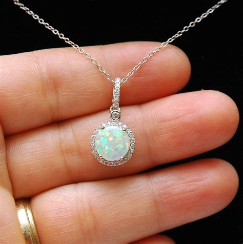 white opal necklace opal necklace october birthstone necklace white opal