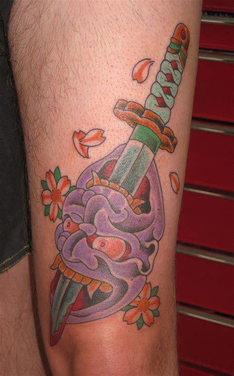 cherry street tattoo hannya reversable dagger japanese sword cherry blossom