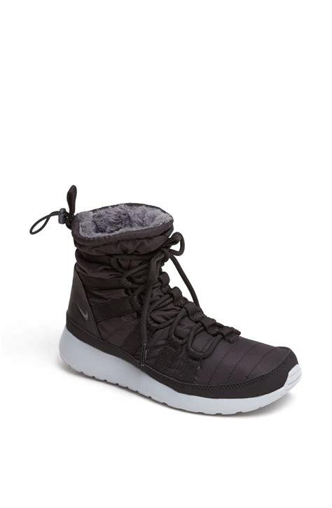 nike roshe run sneaker boot nike roshe run sneaker boot in black black anthracite