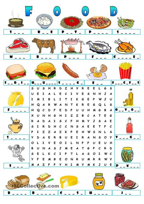 word for cuisine food wordsearch teaching the esl efl