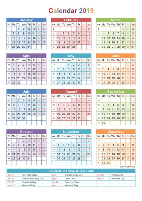 Calendar 2019 India With Holidays 2019 Calendar With Holidays Week Numbers Pdf Image