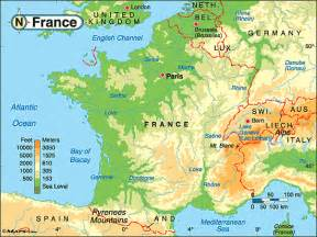 Physical Map Of France by Pics Photos Maps France Features About Canadian History