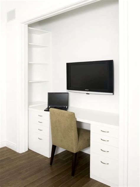 flat screen tv in a closet fabulous closet office spaces a multifunctional work