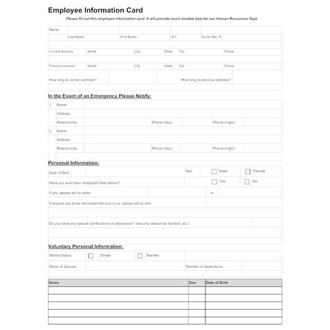 employee information template employee information sheet