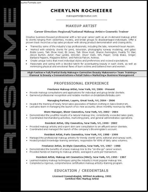 Makeup Resume by Makeup Artist Resume Template Free Sles Exles