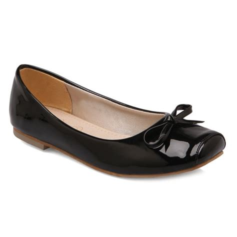 flats black patent leather square toe bowknot flat shoes
