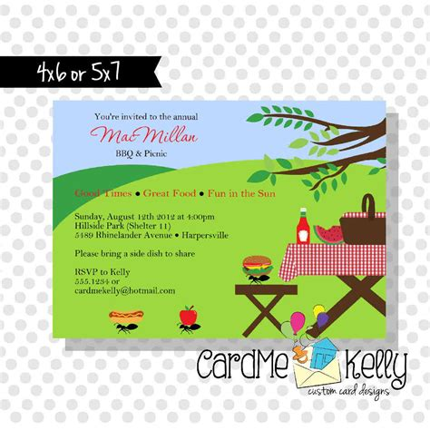 picnic invitation card template summer picnic invitation