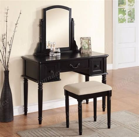 3 Vanity Set by Poundex Transitional Vanity Table Dresser 3 Drawers Stool