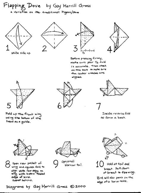 Easy Origami Dove - origami dove folding with 10 step diagram gif
