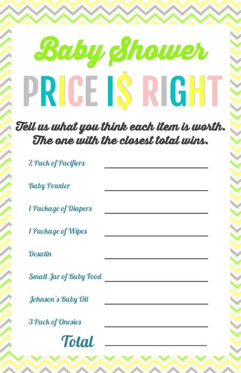 price is right baby shower template 10 of the best free baby shower on the