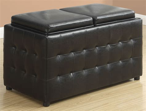 Dark Brown Leather Storage Trays Ottoman 8924 Monarch Brown Leather Ottoman Storage