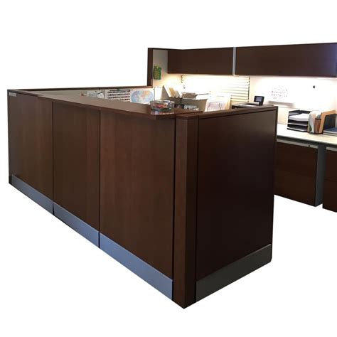 Herman Miller Reception Desk Ethospace By Herman Miller Used Reception Workstation Cubicles Cherry Veneer National Office