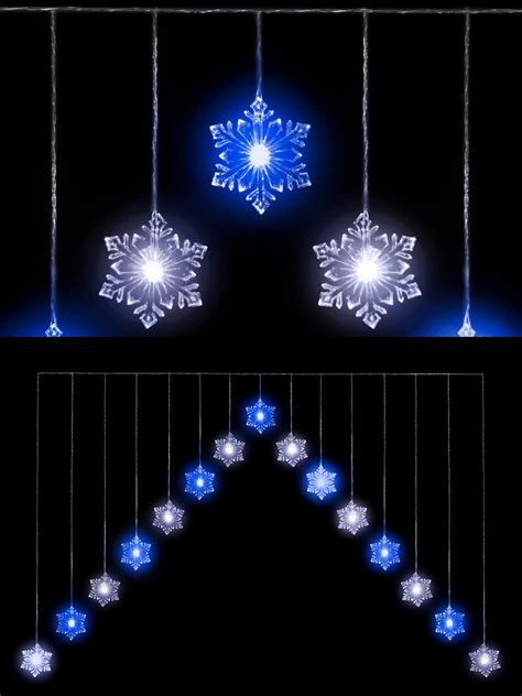 snowflake quot v quot curtain light 15 led christmas window