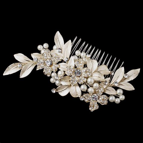 Hair Comb Flowers And Pearls Lh002 gold ivory pearl rhinestone flower leaf hair comb 36