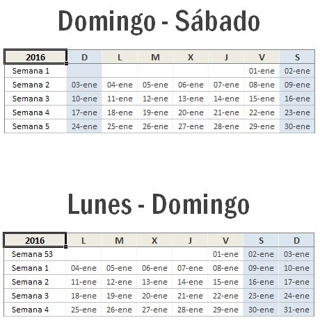 Calendario Por Semana Calendario 2016 En Excel Excel Total