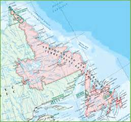 large detailed map of newfoundland and labrador with