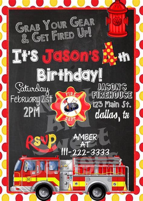 5 X 7 Printable Firetruck Birthday Invitation Firefighter Birthday Invitation Fireman Firefighter Invitation Templates