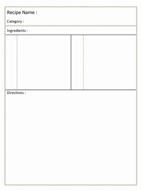 blank recipe card template page recipe template for word it resume cover