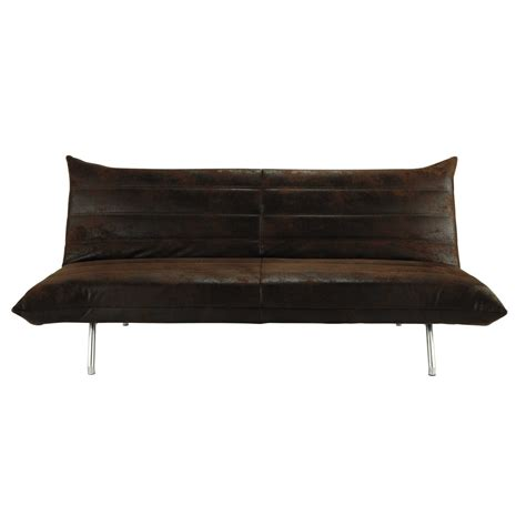 brown 3 seater clic clac sofa bed fusion maisons du monde
