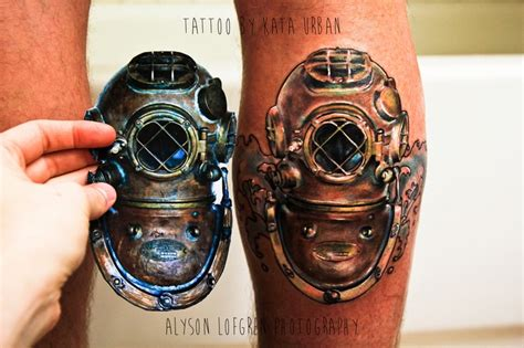 diving helmet tattoo sea diver v by kata