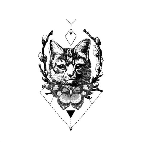 black and white cat tattoo black and white butterfly and cat in branch frame with