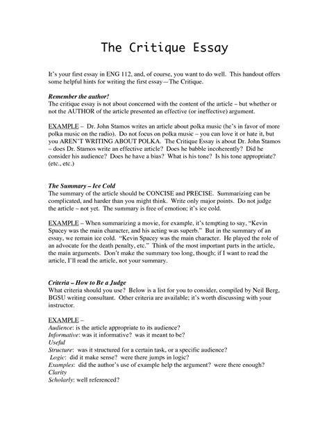 How To Make A Critique Paper - essays critiquing article writefiction581 web fc2