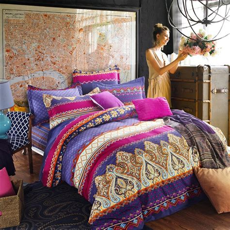blue bohemian bedding retro style bedroom look with purple bohemian bedding sets blue small round ceramic