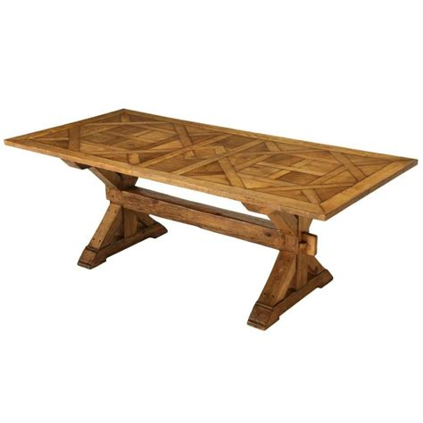 French Style Parquet Trestle Dining Table For Sale At 1stdibs Trestle Style Dining Table