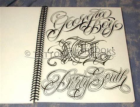 tattoo fonts names calligraphy boog name script lettering gangster book ebay
