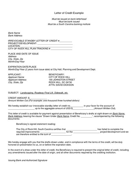 Credit Agreement Template Letter Letter Of Credit Sles International Transactions