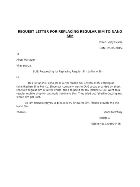 airtel mobile number cancellation letter format request letter for replacing regular sim to nano sim