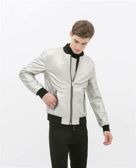 Zarra Bomber Jacket Kualitas Premium zara metallic bomber jacket in metallic for lyst