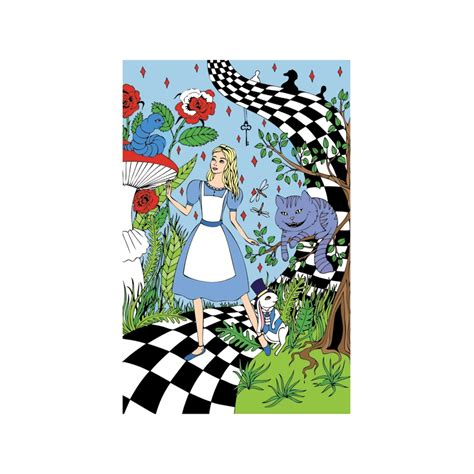 Cheshire Cat Blue cheshire cat and blue caterpillar postcardpress