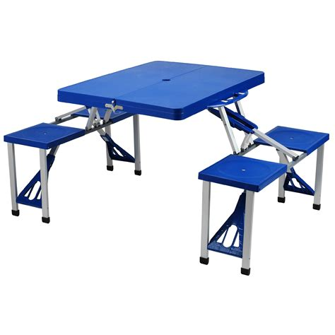 blue plastic picnic table set