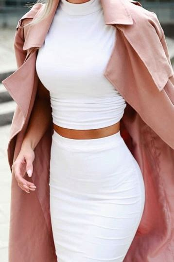 Turtle Neck Crop Top Pink turtle neck white crop top with high waist pencil skirt