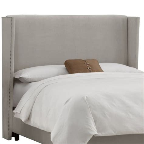 wing back headboard skyline furniture wingback tufted headboard in gray