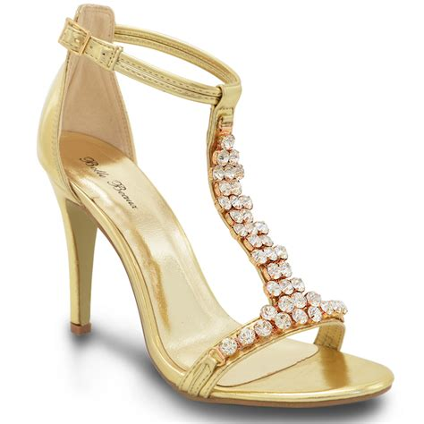 womens high heel diamante silver gold prom