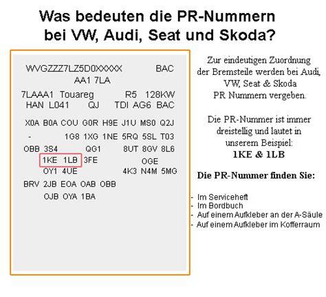 Audi Pr Nummer by Pr Nummer Erkl 228 Rung