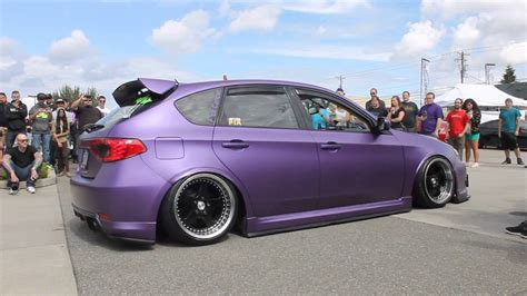 purple subaru matte purple 08 wrx on air ride with custom straight pipe