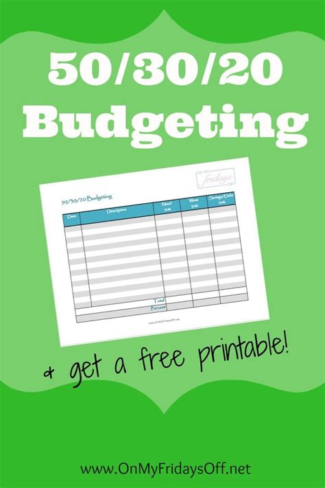 50 30 20 Budget Spreadsheet by 50 30 20 Budgeting Printable Budget Worksheet Printable