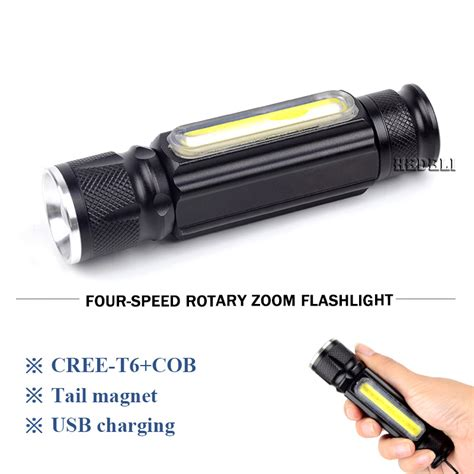 Senter Led Lantera Usb Rechargeable Cree Xml T6 2300 Lumens 5000lm Powerful Led Flashlight Usb Rechargeable With Magnet X900 Cob Cree Xm L T6 Led Torch