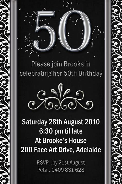 free 50th birthday invitations templates impressive 50th birthday invitation template