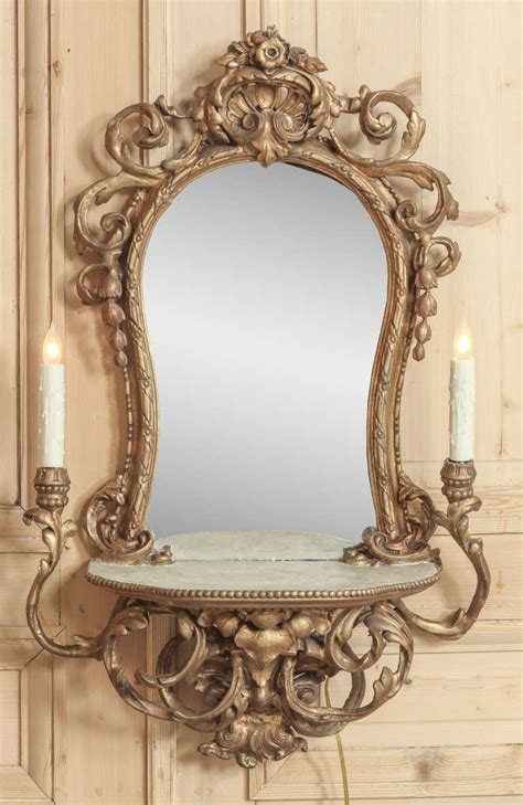 Vintage Vanity With Mirror by Vintage Italian Rococo Lighted Vanity Mirror At 1stdibs