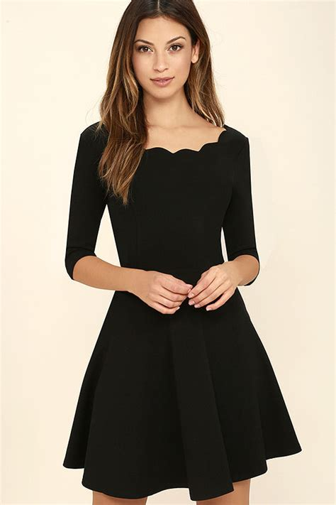 Dress Model Black Style Impor 46 black dress scalloped dress skater dress 46 00