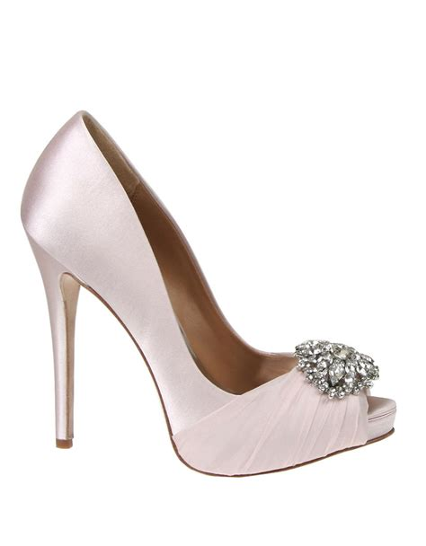 badgley mischka pettal satin pumps in pink light pink lyst